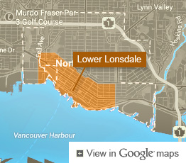 Map of Lower Lonsdale neighbourhood in North Vancouver